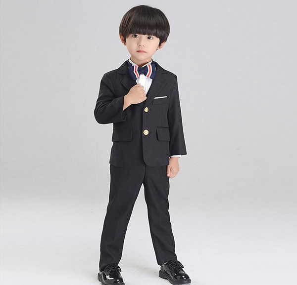 Hot Sale Boys Formal Wears Notched Lapel Two Buttons Bride Wedding Ring Bearer Kids Tuxedos Little Mens Suits(Jacket+Pants)
