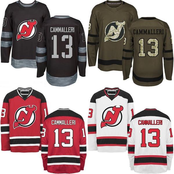 13 Mike Cammalleri 2016 New Mens New Jersey Devils Jersey Blanco Rojo Negro Verde Auténtico cosido Cammalleri Hockey sobre hielo Jerseys
