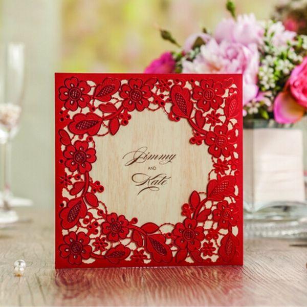 Il pizzo bianco all'ingrosso scava fuori le carte dell'invito di nozze delle carte dell'invito di nozze (10 parti / lotto) con lo strato interno CW5280
