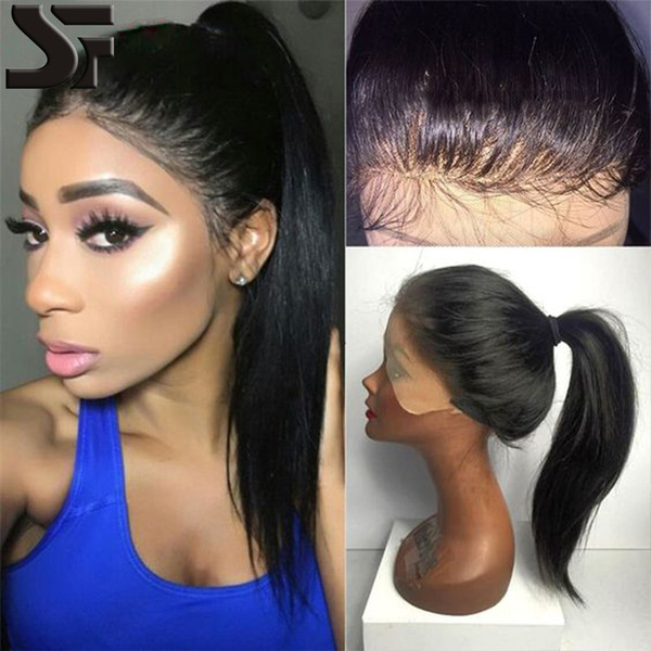 SF Natural Hairline Human Hair Wig With Baby Hair Peruvian Virgin Full Lace Wigs / Lace Frontal Wig For Black Women