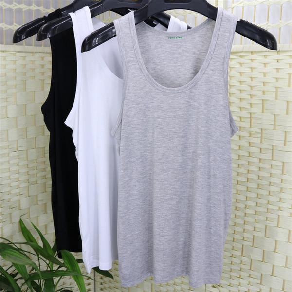 En été, aucune trace de gilet de sous-vêtements en fibre de bambou et charbon de bois avec une fine section de gilet en coton modal de mât lâche rendant le code
