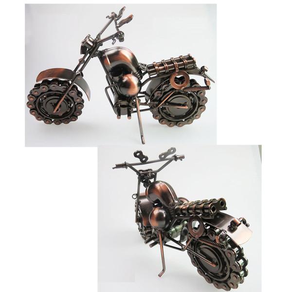 복고풍 철분 예술 크리 에이 티브 수제 오토바이 모델 완구 남자용 금속 오토바이 모델 장난감 선물 홈 장식, 대형