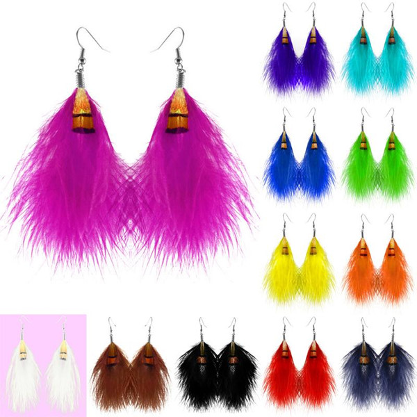 Feather Earrings 12 Colors wholesale lots Cute Charm Elegant Light Dangle Eardrop Hot New (White Black Teal Orange Yellow Green Blue)(JF098)