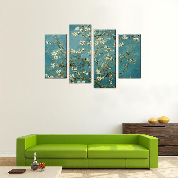 4 Stücke Leinwand Wandkunst Aprikosenblume Bild Pritns Landschaftsmalerei Giclée Kunstwerk mit Holzrahmen Für Wohnkultur Bereit zu Hängen