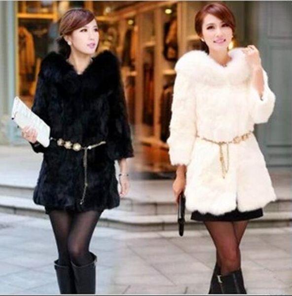 Winter Warm Women's Faux Rabbit Fur Coat Fox Fur Collar Slim Long Faux Fur Jacket without Sashes Black White Mink Outwear