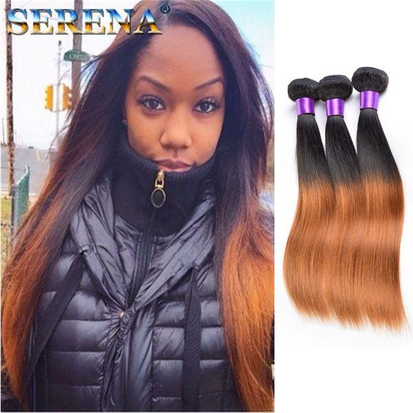 Ombre Human Hair Weave 1B 30 Brazilian Peruvian Indian Malaysian Hair Wefts 3pcs lot Staight Human Blonde Bundle Deals Cheap Hair Extensions