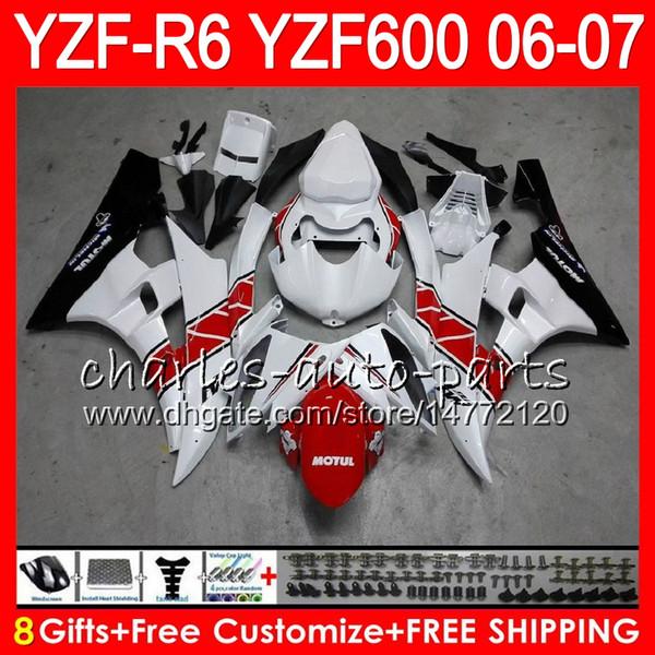 8 Regalos 23 Carrocería de colores para YAMAHA YZF-R600 YZF R 6 06-07 59HM23 rojo blanco YZF600 YZFR6 06 07 YZF 600 YZF R6 YZF-R6 2006 2007 Kit de carenado