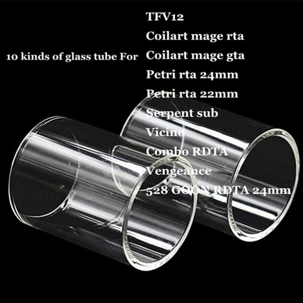 TF12 Coilart mage RTA GTA Petri 22mm 24mm Serpent sub Vicino Combo RDTA Vengeance 528 GOON Replacement Pyrex Glass Tube for Tank Vape