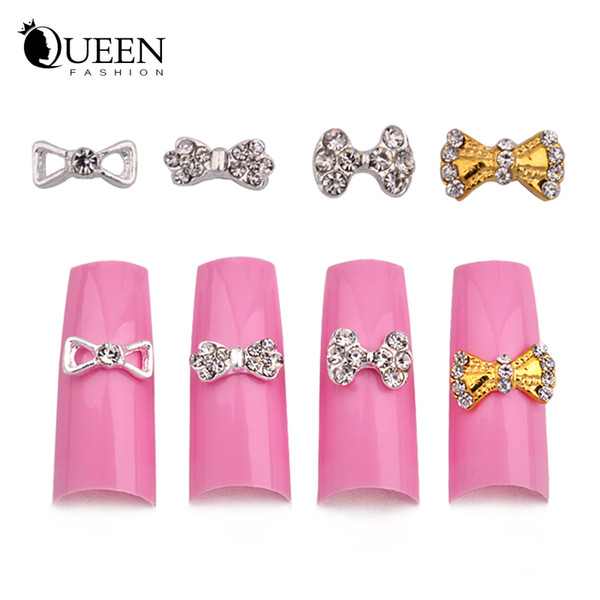 10pcs New 10pcs 3d Clear Rhinestone Gold Silver Alloy Bow Tie Nail Art Charm DIY Nail Decorations
