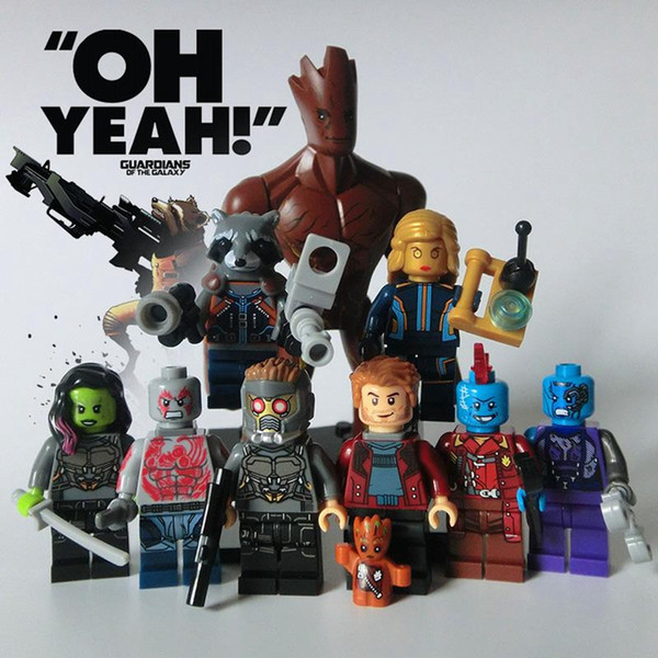 9pcs Guardians of the Galaxy Marvel DC Building Blocks Groot Super Heroes Avengers Action Figures ronan camora drax destroyer nebula