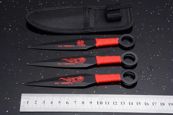 OEM Cina Dragon 3 pz / set Lama Fissa Coltello 3Cr13Mov Tattico di Campeggio Caccia Sopravvivenza Coltello da Tasca Utility Militare Strumenti EDC Fodero di Nylon