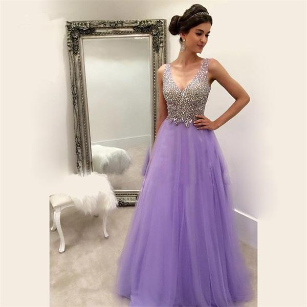 Cheap Light Purple Long Prom Dresses Crystal Sleeveless A Line Formal Party Dresses For Gowns V Neck Tull Zipper Dresses For Evening Wear