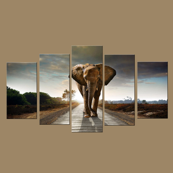 Modern Wall Art Prints Canvas Elephant Painting from Digital Picture Print on Canvas Modern 5 Panel Wall Art for Home Decor