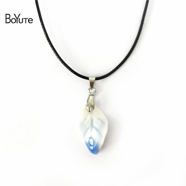 BoYuTe 5Pcs 6 Colors chinese Porcelain Ceramic Leaf Pendant Choker Necklace Women Women's Accessories Independent packing