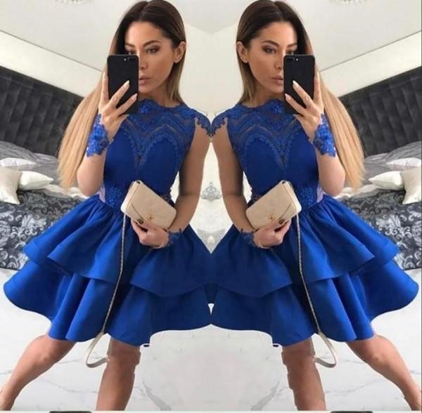 2017 kurze royal blue cocktailkleider jewel neck illusion schiere lange ärmel aushöhlen gestuft rüschen sweet 16 homecoming dress