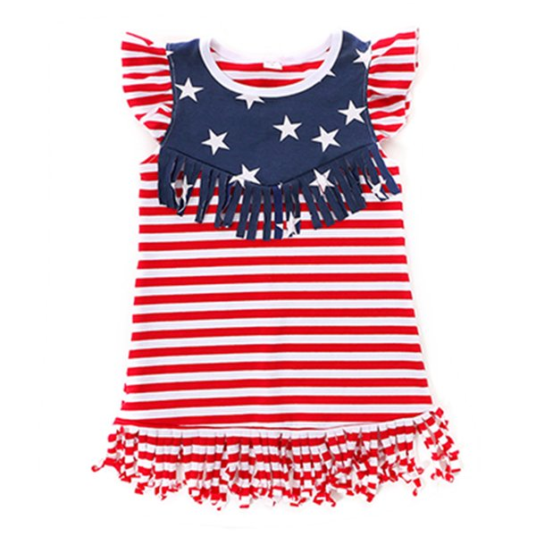 4th Of July Baby Girls Dress Striped Tassel Children Festival Dresses Patriotic American Flag Girls Dresses Retail Kids Clothing