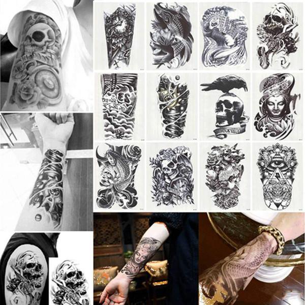Novo Grande Tatuagens Temporárias Braço Body Art Removível À Prova D 'Água Etiqueta Do Tatuagem Mista Aleatoriamente Enviados Frete Grátis