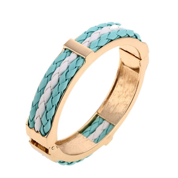 New Punk Wind Spring Leather Open Flat Bracelet Gold Metal Hinge Bracelet With Colour Leather Rope High Polish PU Hinge Bangle