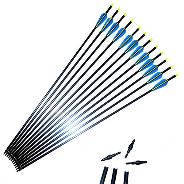 12pcs/lot OD 8mm Spine500 with blue yellow Feather Fiberglass Arrow for Recurve Bow Arrow or compound Bow Practice /Hunting