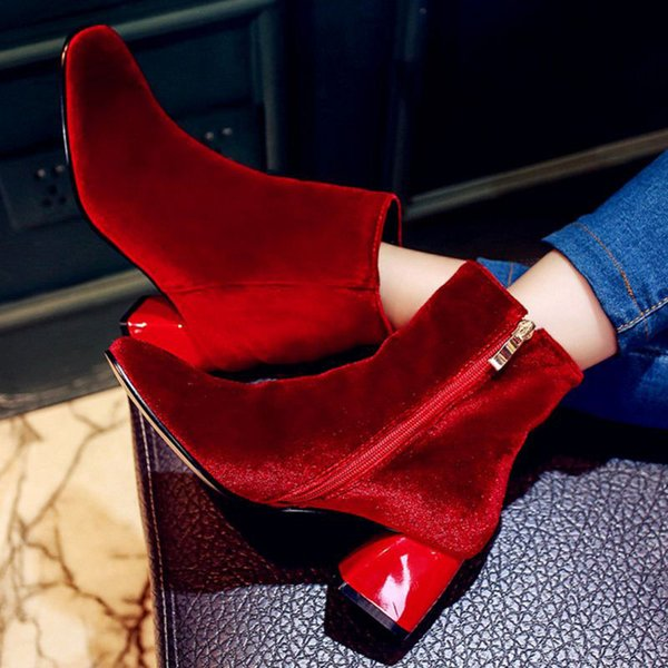 SJJH Women fashion ankle boots zipper pointed toe block heel rush velvet material booties with solid color soft and warm for winter SCP032