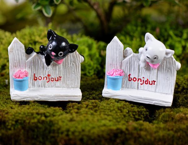 2pcs Fence Cat Statue Bonsai Tools Fairy Garden Miniatures Landscape Decor Dollhouse Crafts Terrarium Figurines Home Accessories
