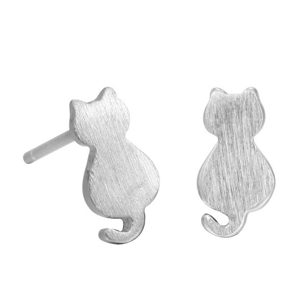 5 pairs/lot 925 Sterling Silver Cute Cat Earrings For Women Girl Lovely Kitty Stud Earrings Hypoallergenic Sterling-silver-jewelry
