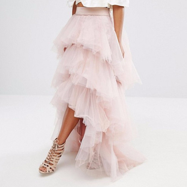 Gorgeous Light Pink Tulle Skirt Layered Tiered Puffy Women Tutu Skirts Cheap Formal Party Gowns High Low Long Skirts Custom Made