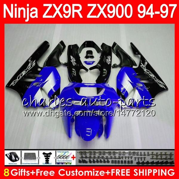 8Gifts 23Colors For KAWASAKI NINJA ZX900 ZX9R 94 95 96 97 900CC 49HM20 blue black ZX-9R ZX900C ZX 9 R ZX 9R 1994 1995 1996 1997 Fairing kit