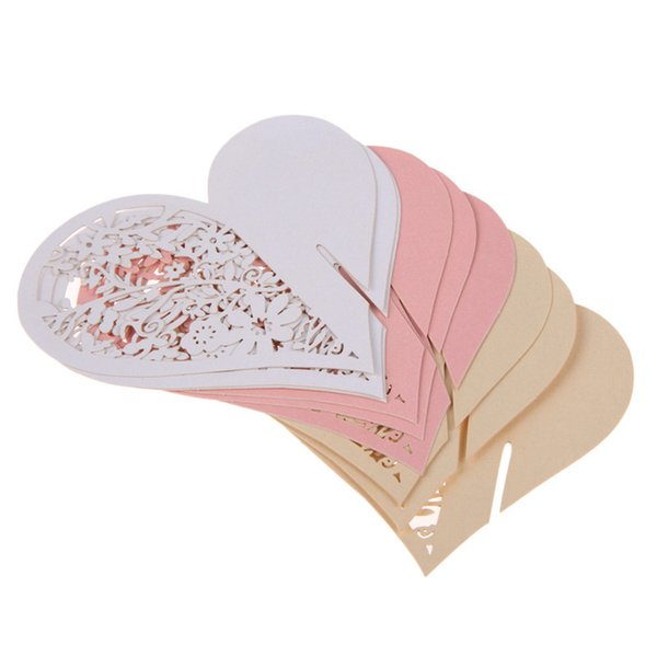 50pcs/lot Wedding Table Decoration Place Cards/Wedding Party Decoration Laser Cut Heart Floral Wine Glass Place Cards