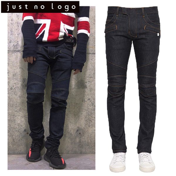 Wholesale- 2017 Streetwear Men/Male Designer FamousBrand Black Biker/Motorcycle Tight Denim Jeans Slim Fit Skinny Straight Rib Jogger Jeans