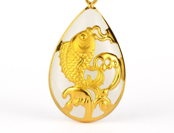Gold inlaid jade white water type gold carp (talisman) necklace pendant (more) every year