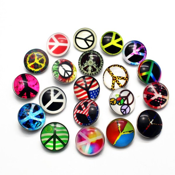 Newest 20pcs/lot Peace Symbol Snap Button Jewelry Substitutable Glass Snap Buttons fit 18mm Snap Bracelet Bangles