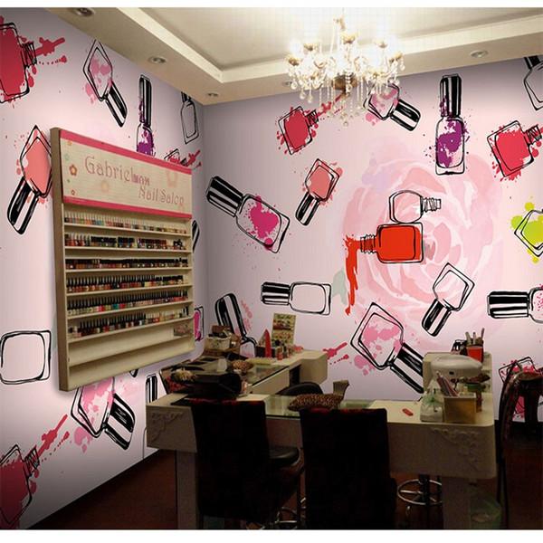 3d Stereo Custom Personality Fashion Cosmetics Shop Manicure Ink Graffiti Wallpaper Beauty Salon Clothing Store Custom Mural Wallpapers Desktop