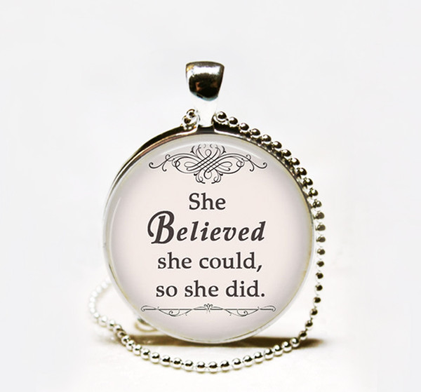 Wholesale she believed she could so she did pendant necklace she believed she could so she did pendant necklace inspiration jewelry inspirational pendant aloadofball Image collections