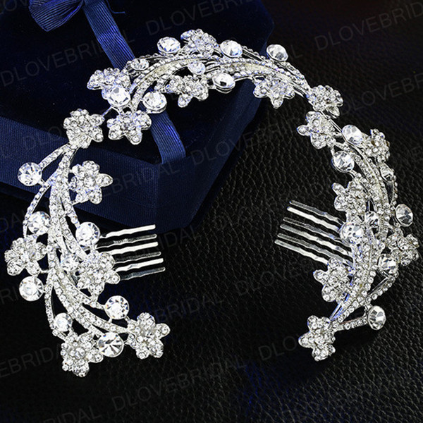 Free Shipping Vintage Crystal Floral Bridal Comb High Quality Rhinestone Women Wedding Prom Evening Party Headpieces Hair Jewelry Accessory