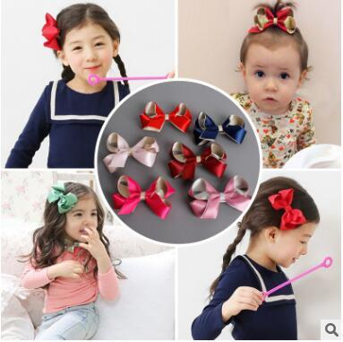 Contrast color stereo twisted bow children's hair hairpin edge clip japan and south korea baby lovely hair clip 8cm