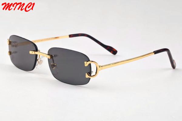 Noir lunettes de soleil de luxe pour hommes 2017 unisexe lunettes de corne de buffle mens femmes designer lunettes de soleil sans monture cadre en métal d'or lunettes lunettes