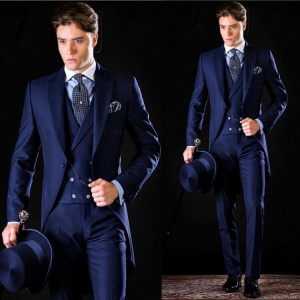 Men Blazers Groom Tuxedos Groomsmen Notched Lapel Slim Fit Best ...