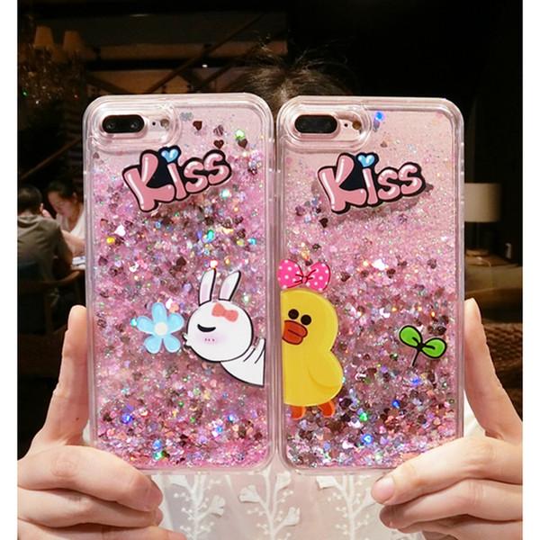 for iphone 5 5s se 6 6s 7 8 plus X Pretty Cute rabbit Duck kiss liquid glitter phone case cover