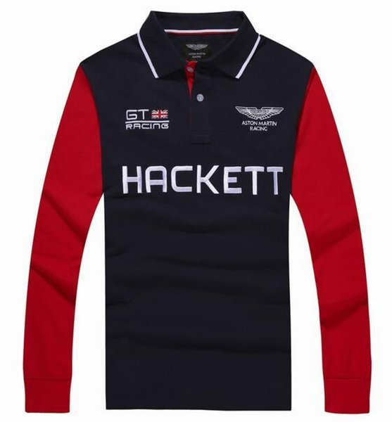 Hot Buy Winter London Hackett Mens Polo Shirts Casual Cotton Long Sleeve HKT GT Racing POLO Shirt Summer Business Men Polos Tops