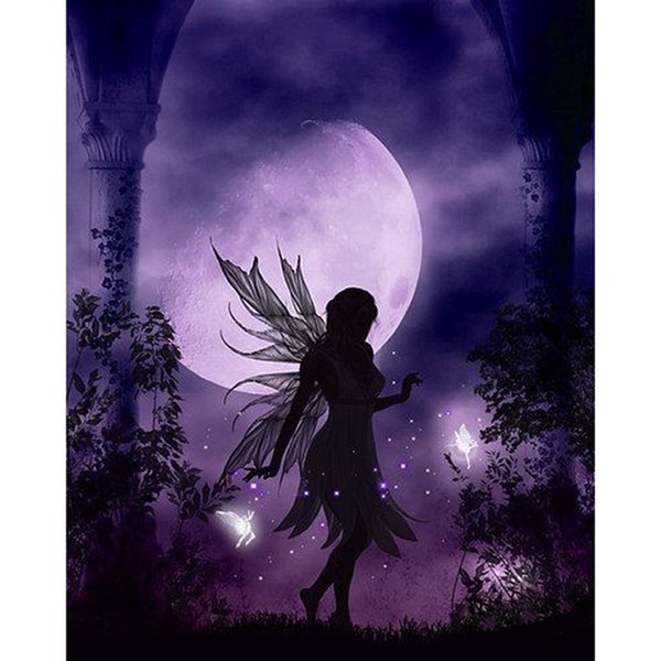 DIY Diamond Painting Embroidery 5D Purple Moon Angel Pattern Cross Stitch Crystal Square Unfinish Home Bedroom Wall Art Decor Craft Gift