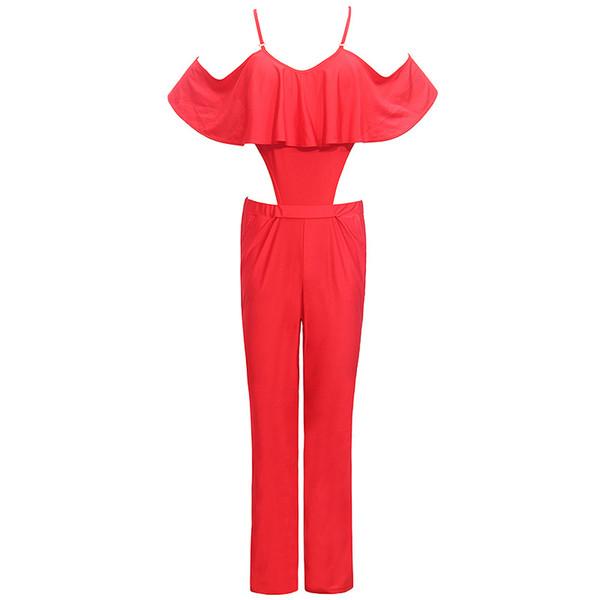 Wholesale- 2016 New Cross Halter Sleeveless Women Sexy Slim balck nude Condole belt Jumpsuits best choice for fashionable women jumpsuits