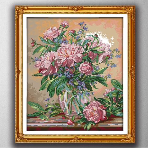 Bluebells vase flowers home decor paintings , Handmade Cross Stitch Embroidery Needlework sets counted print on canvas DMC 14CT /11CT