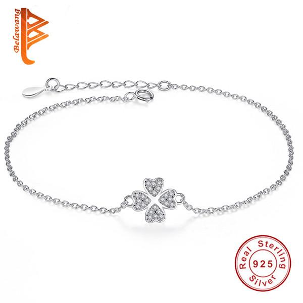 BELAWANG Fashion 925 Sterling Silver Sliver&Rose Gold Jewelry Crystal Four Leaf Clover Heart Charm Bracelet Adjustable Link For Women Gift