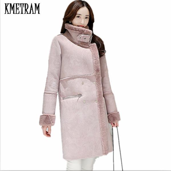 Kmetram Imitation Manteau En Peau Acheter Hiver De Chaud Daim Épaisse 2017 Mode Agneau Laine D'hiver Femmes Femme Veste yIYgbf6vm7
