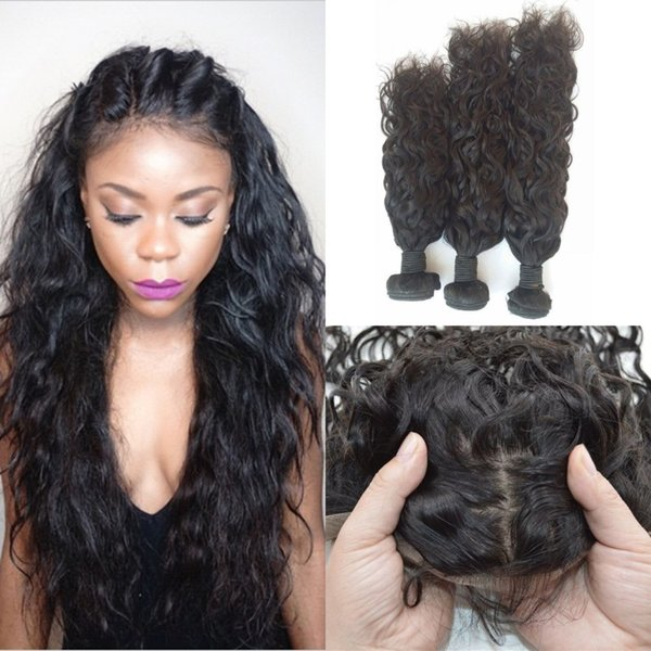 Virign 13x4 Silk Base Frontal With 3 Bundles Unprocessed Human Hair Malaysian Water Wave Lace Frontal Bundles LaurieJ Hair