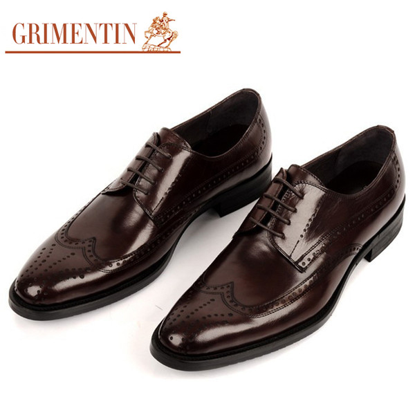 GRIMENTIN Hot sale fashion British style oxford male shoes for men genuine leather black brown shoes for man shoes business size:38-44 SH160