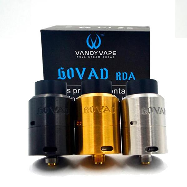 Ecig Vandyvape GOVAD RDA Clone Atomizers 1.5ml Spring loaded clamp style build deck X-Centric Airflow for 510 Vape Mods DHL free
