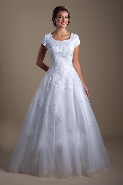 Großhandel White Beaded Lace Appliques Ballkleid Modest Brautkleider ...