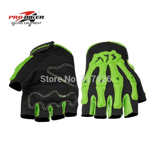 Wholesale- Probiker Skeleton Motorcycle gloves half finger luva motocross racing gloves cycling gloves moto guantes luvas para motorcycle